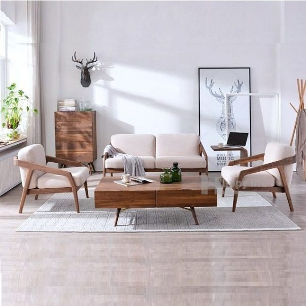Set Sofa Tamu Jati Retro Scandinavian